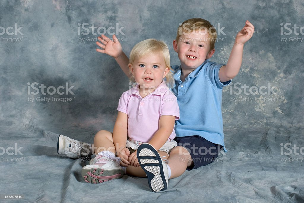 Brother and Sister Portrait Sitting royalty-free stock photo