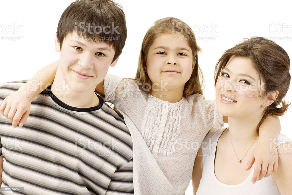 Brother and Sister posing on white background royalty-free stock photo