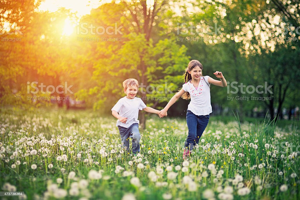 Brother and sister running in dandelion field. stock photo