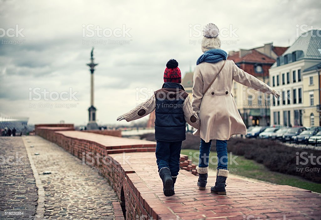 Brother and sister visiting Warsaw stock photo