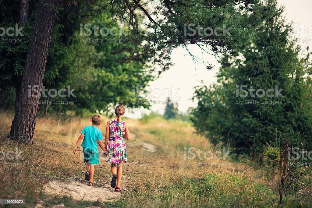 Brother and sister walking in nature stock photo