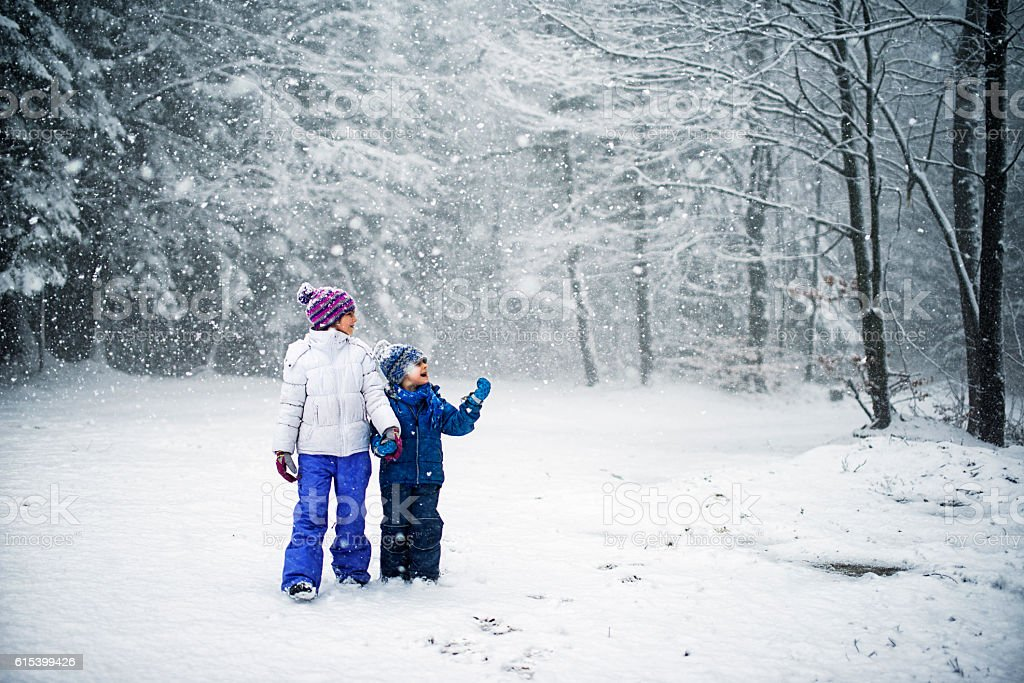 Brother and sister walking in snowy forest stock photo