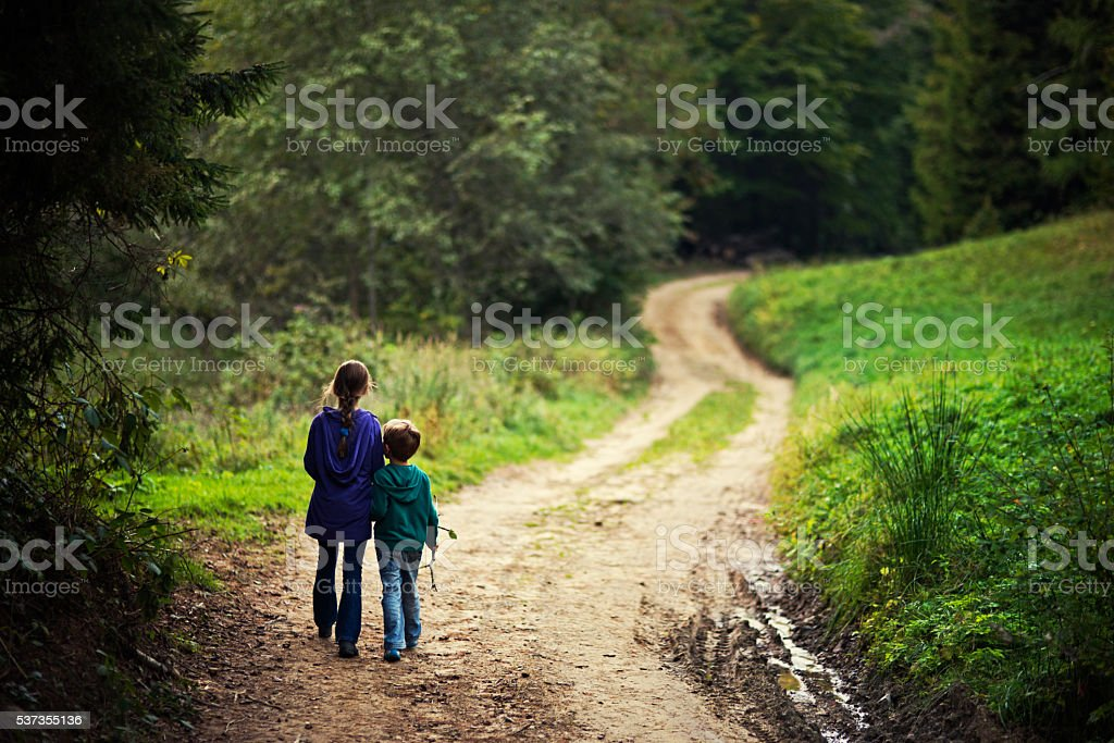 Brother and sister walking on a forest path stock photo