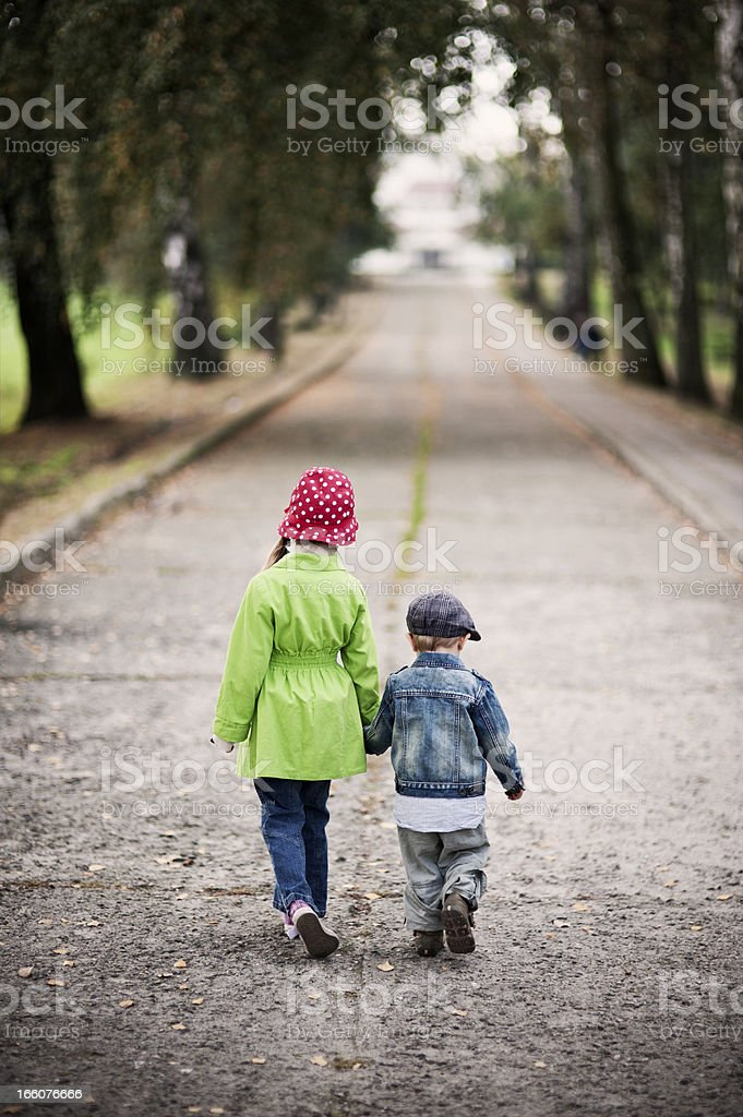 Brother and sister walking stock photo