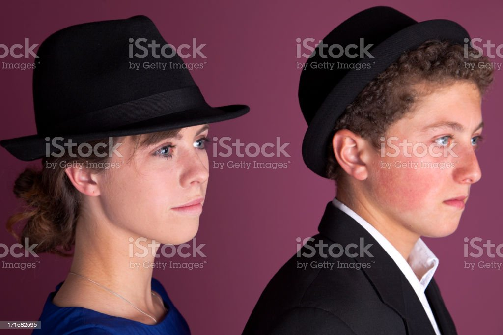 Brother And Sister Wearing Hats stock photo