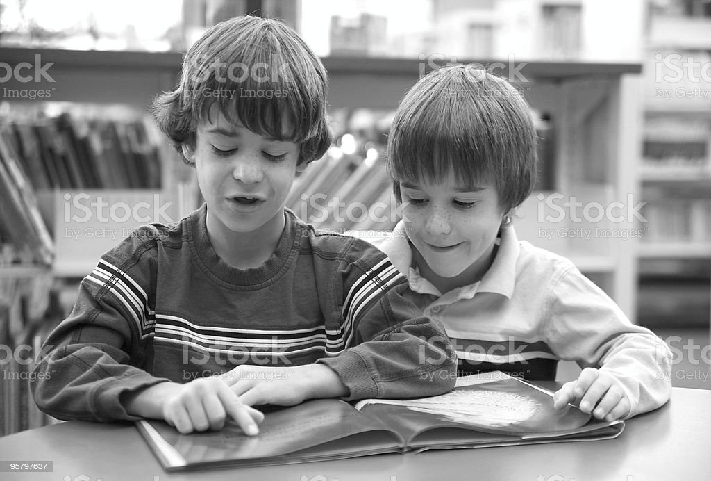 Brother Reading a Book royalty-free stock photo