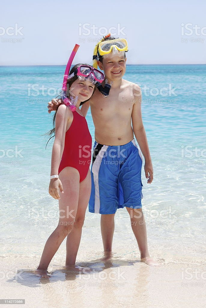 Brother & Sister at the Beach royalty-free stock photo
