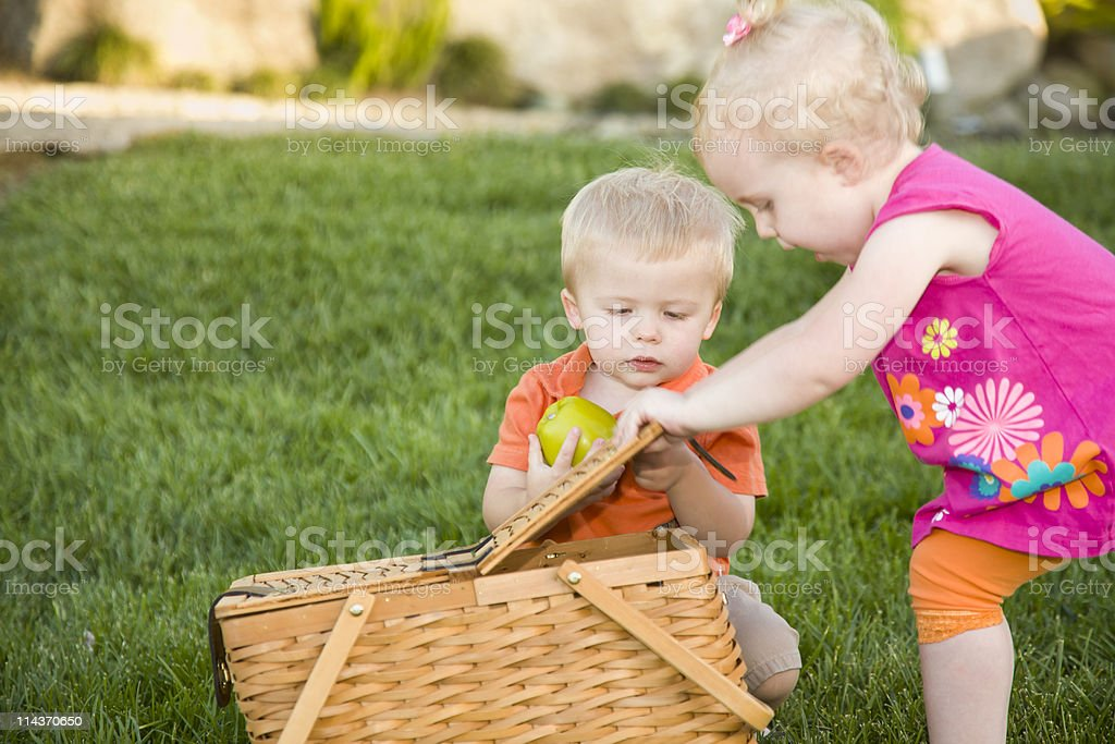 Brother, Sister Toddlers Playing with Apple and Picnic Basket royalty-free stock photo