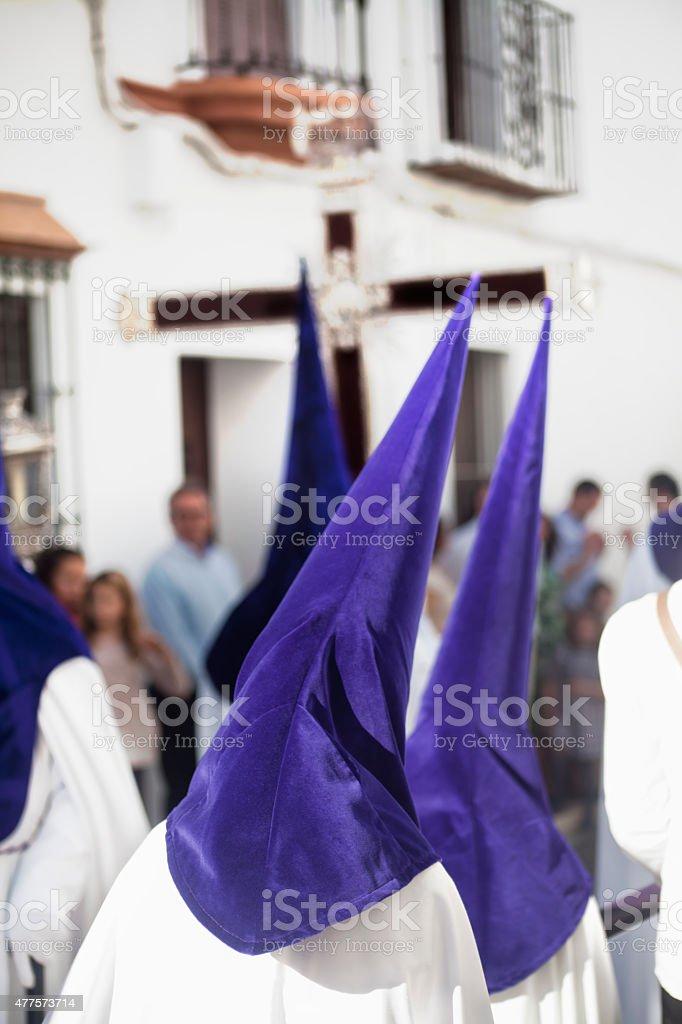 Brotherhood members in Holy week stock photo