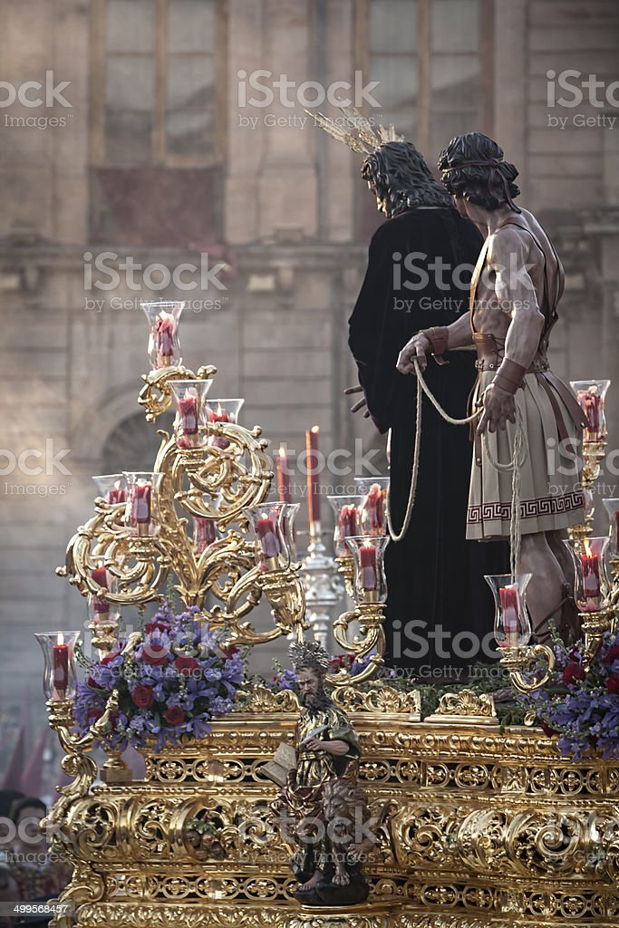 Brotherhood of Jesus corsage making station of penitence in fron stock photo