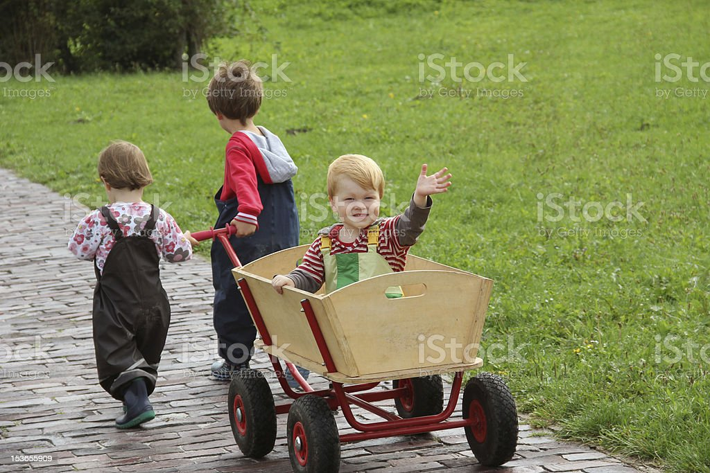 Brothers and sisters on vacation stock photo