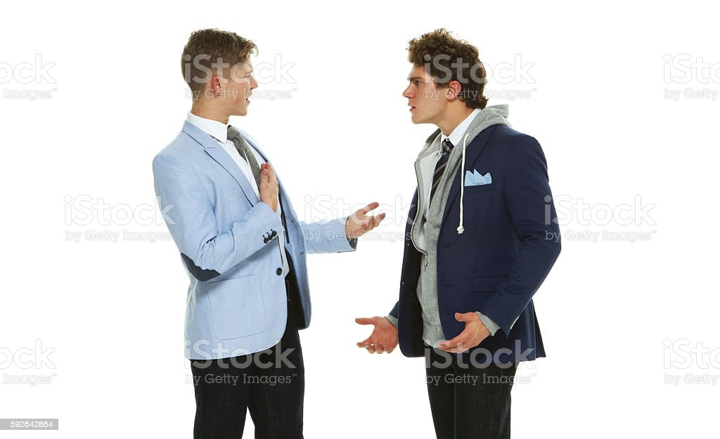 Brothers arguing stock photo