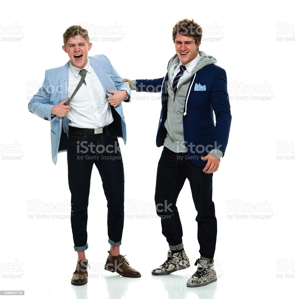 Brothers being happy together stock photo
