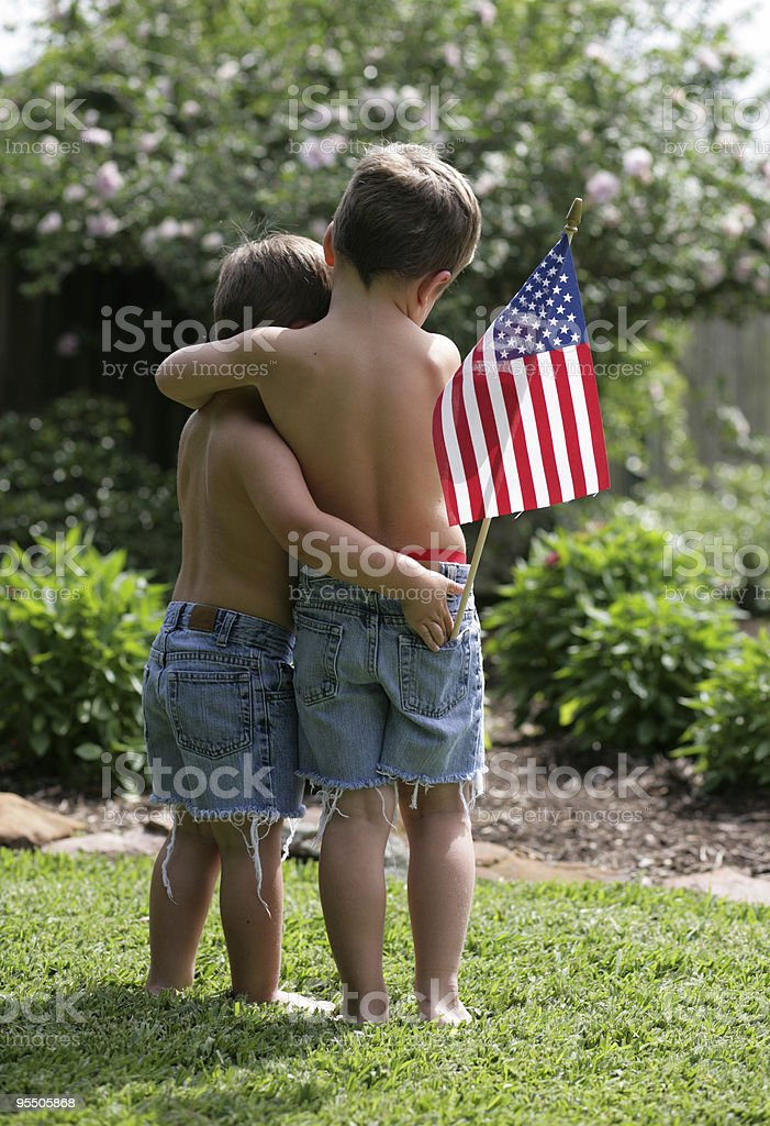 Brothers in arms stock photo