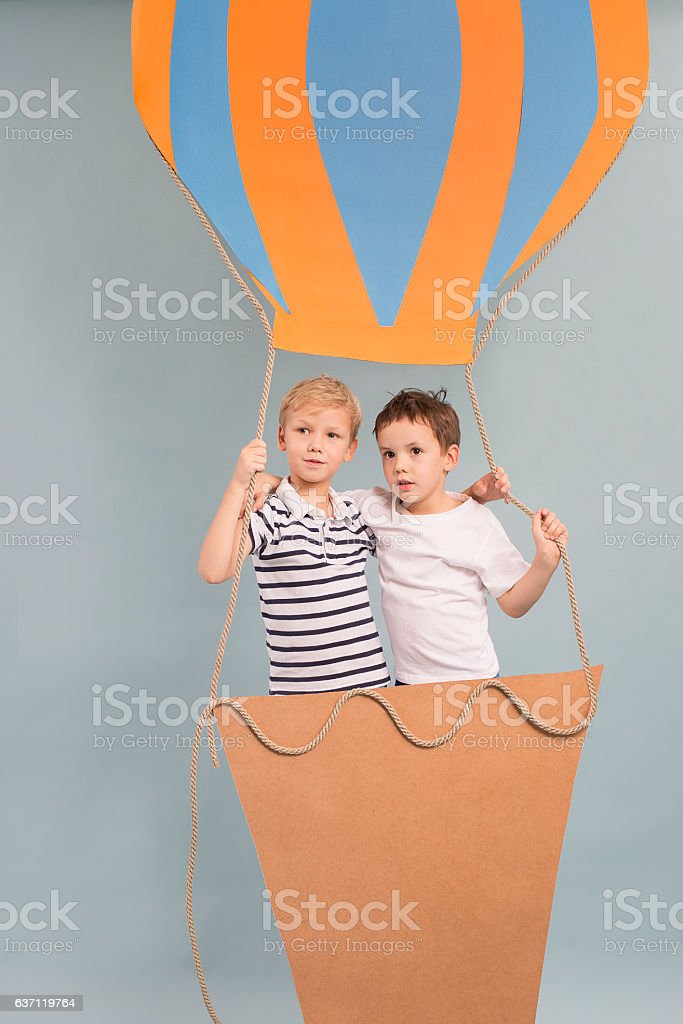 Brothers in blloon stock photo
