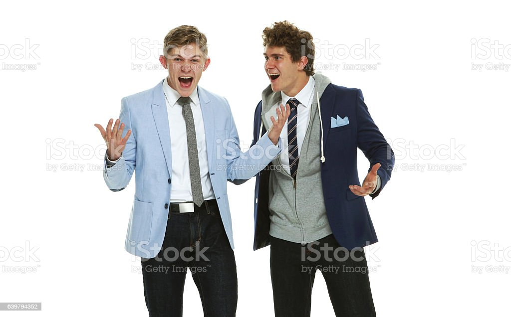 Brothers laughing together stock photo