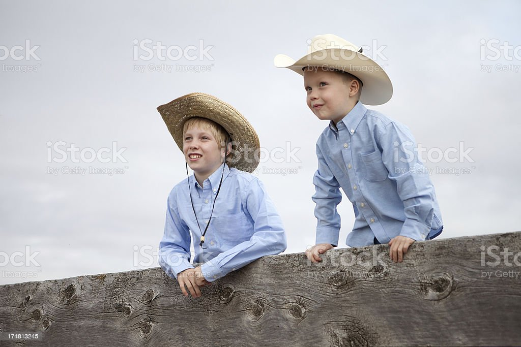 Brothers Looking Over a Wooden Corral Fence royalty-free stock photo