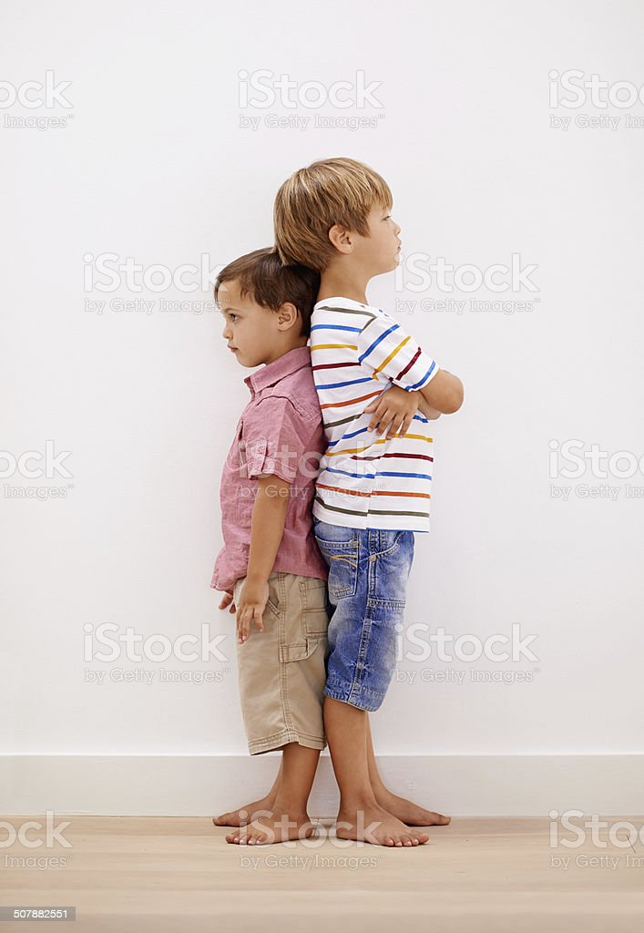Brothers share childhood memories and grown-up dreams stock photo