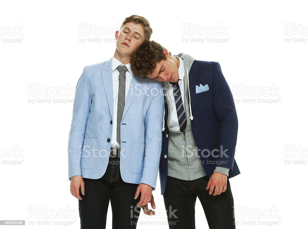 Brothers sleeping stock photo