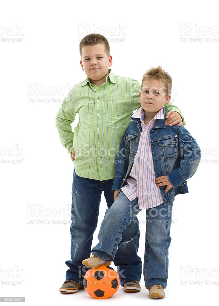 Brothers with football royalty-free stock photo