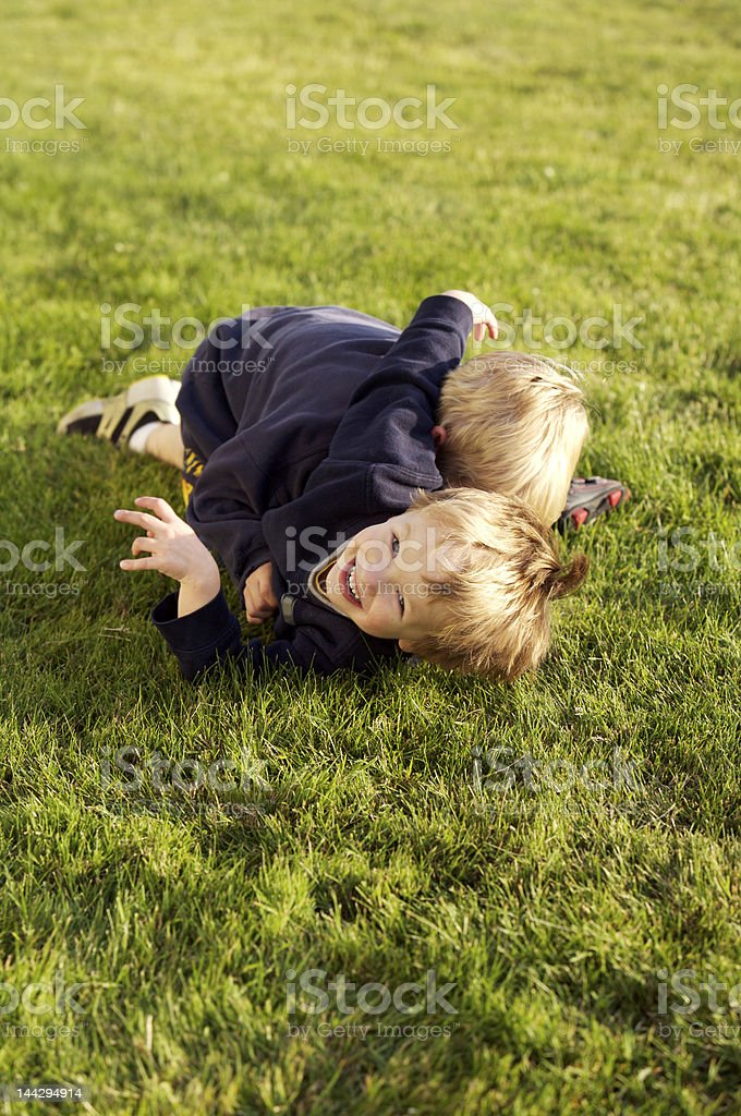 Brother's wrestling in the grass royalty-free stock photo
