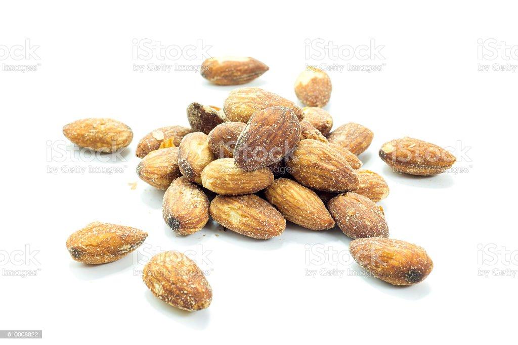 Brown almonds energy protein ingredient stock photo
