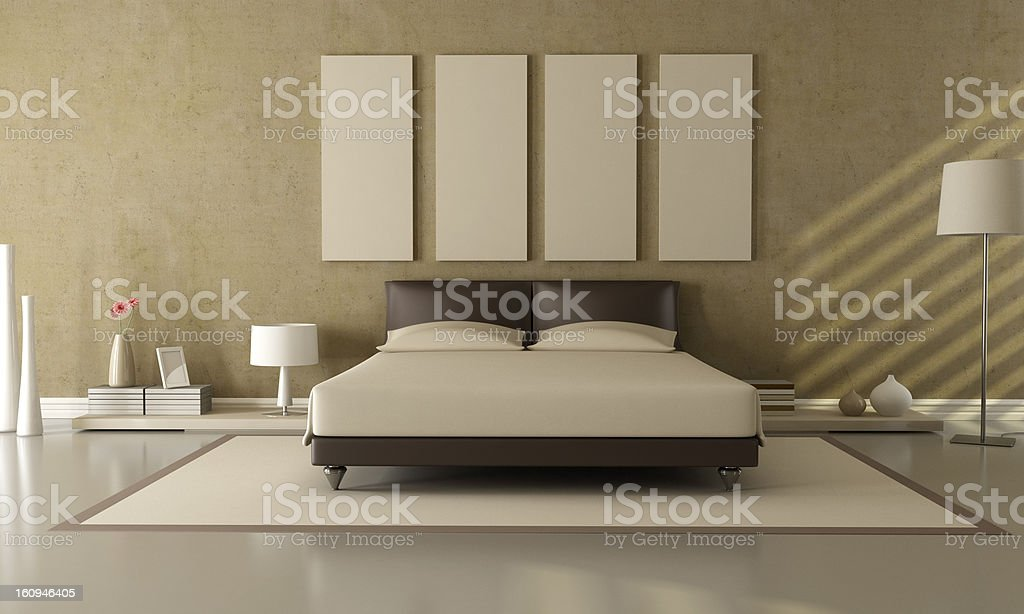 brown and beige bedroom royalty-free stock photo