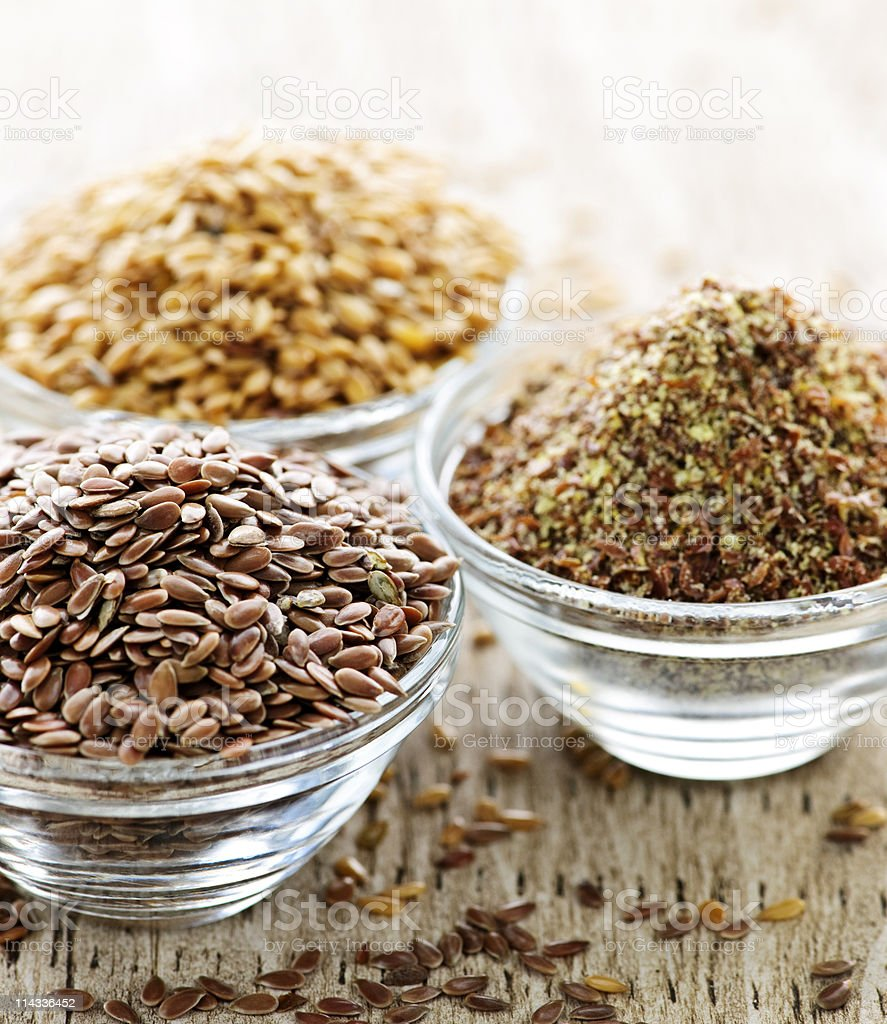 Brown and golden flax seed royalty-free stock photo