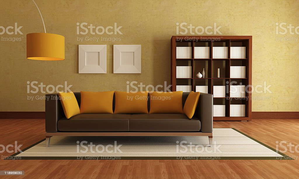 brown and orange living room royalty-free stock photo