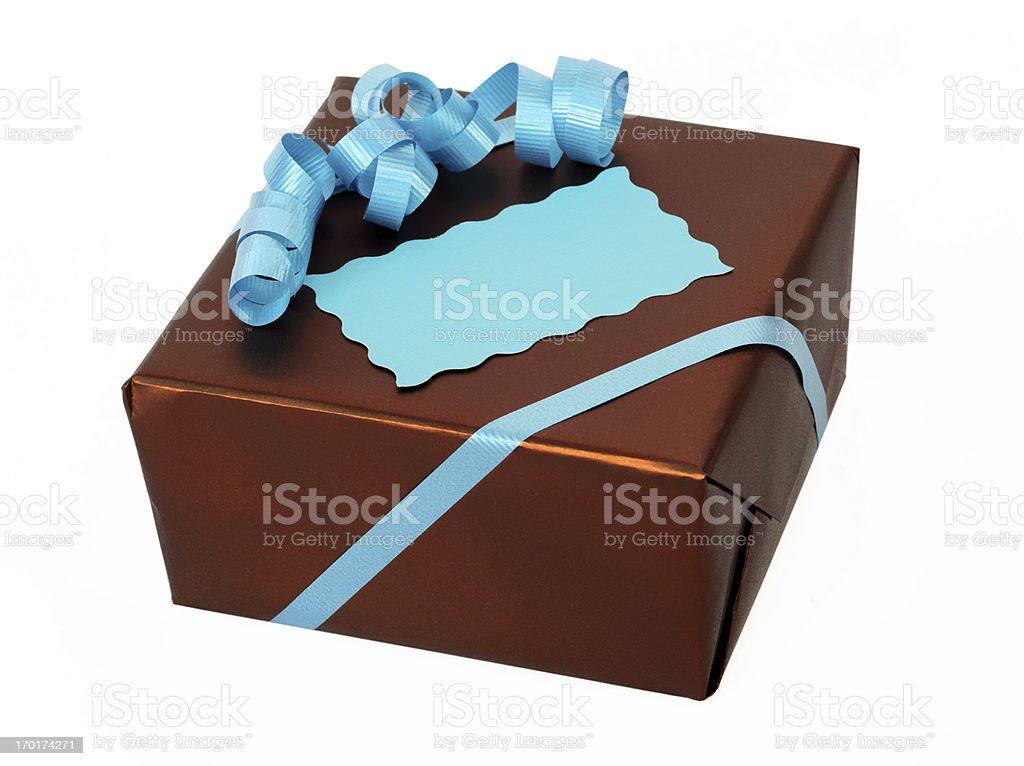 Brown and Turquoise Gift Box with Tag. royalty-free stock photo