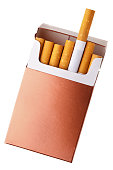 Brown and white flip top box of cigarettes