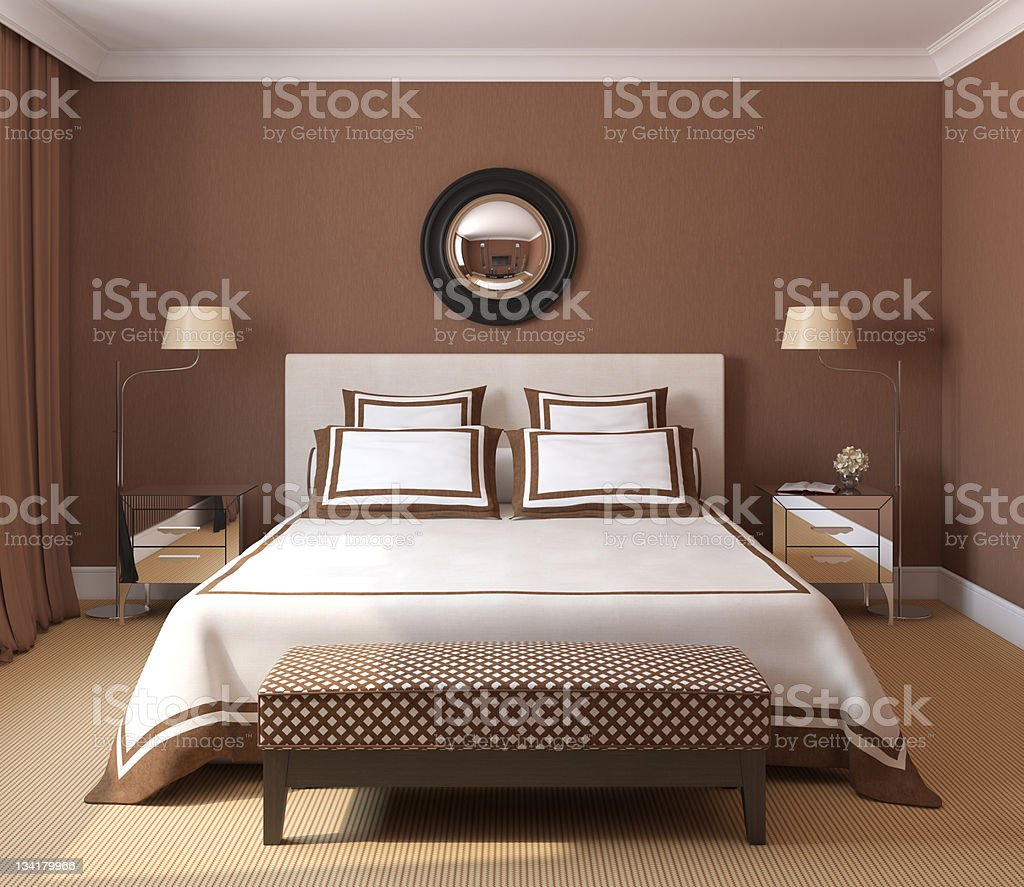 Brown and white themed bedroom interior royalty-free stock photo