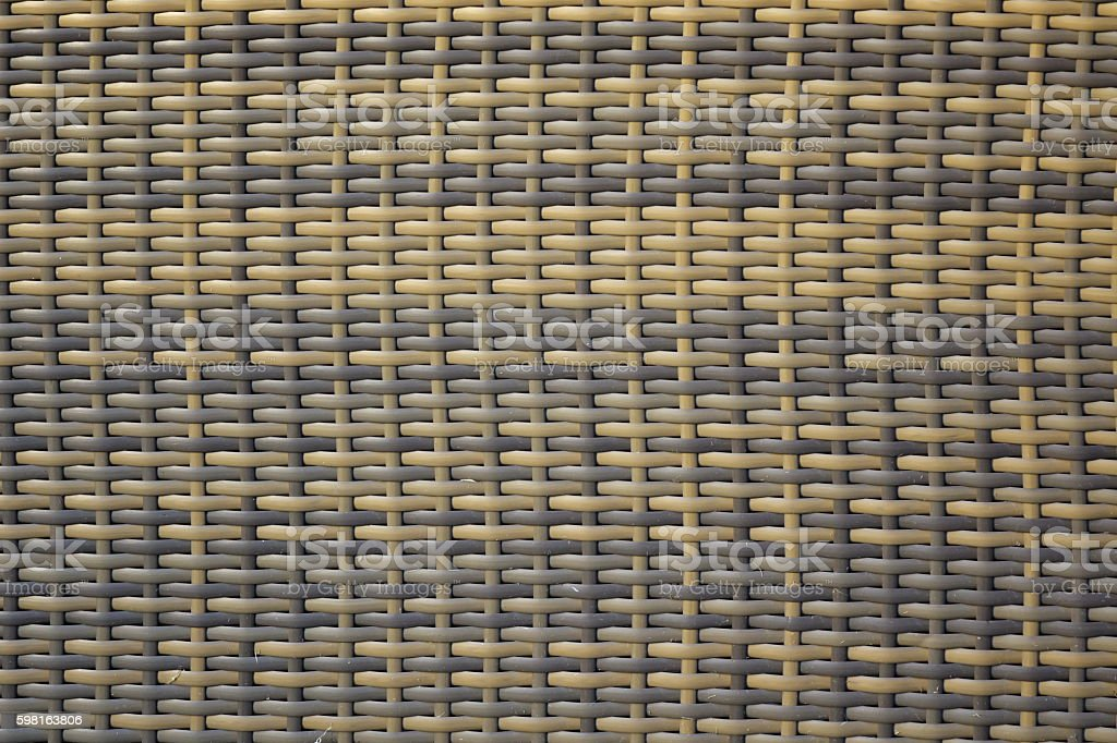 Brown and Yellow Weathered Wicker Texture Background And Pattern stock photo