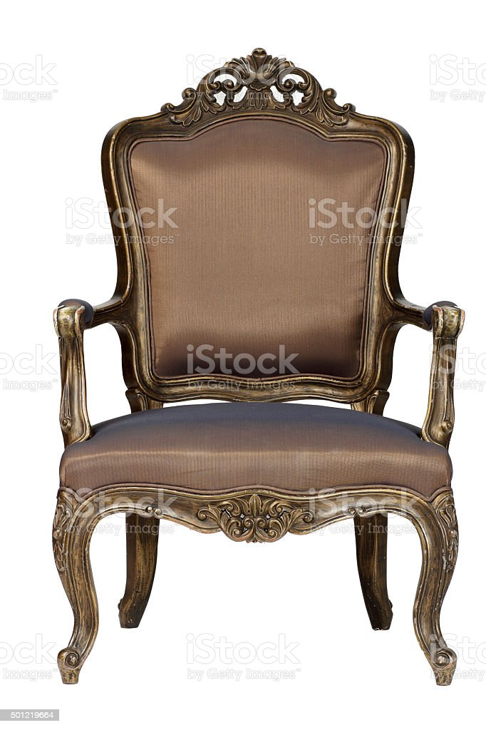 Brown antique chair retro style louis stock photo
