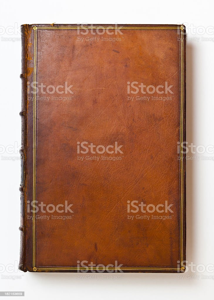 Brown Antique Leather Book Cover stock photo