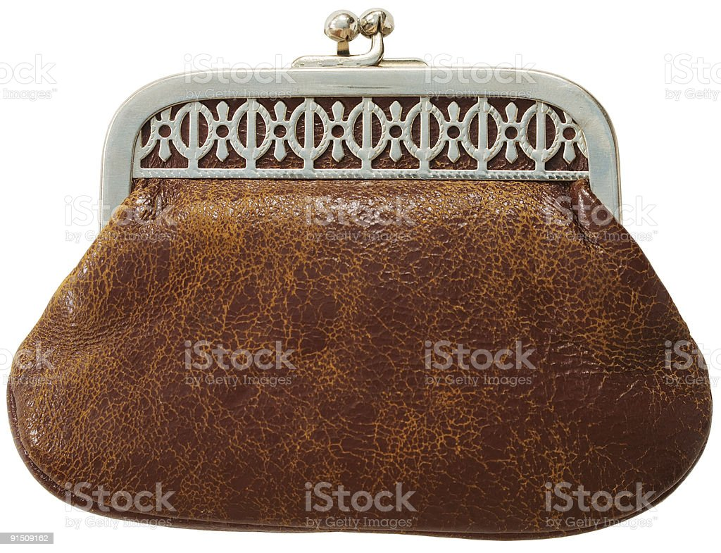 Brown antique leather purse stock photo