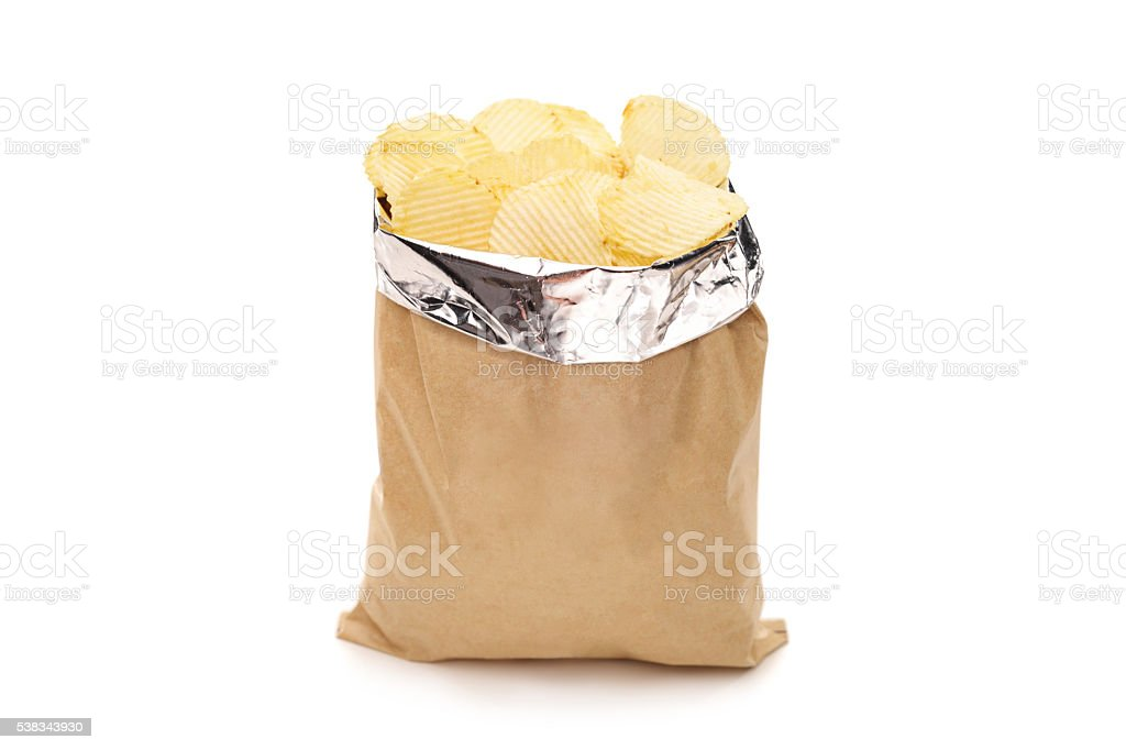 Brown bag full of potato chips stock photo
