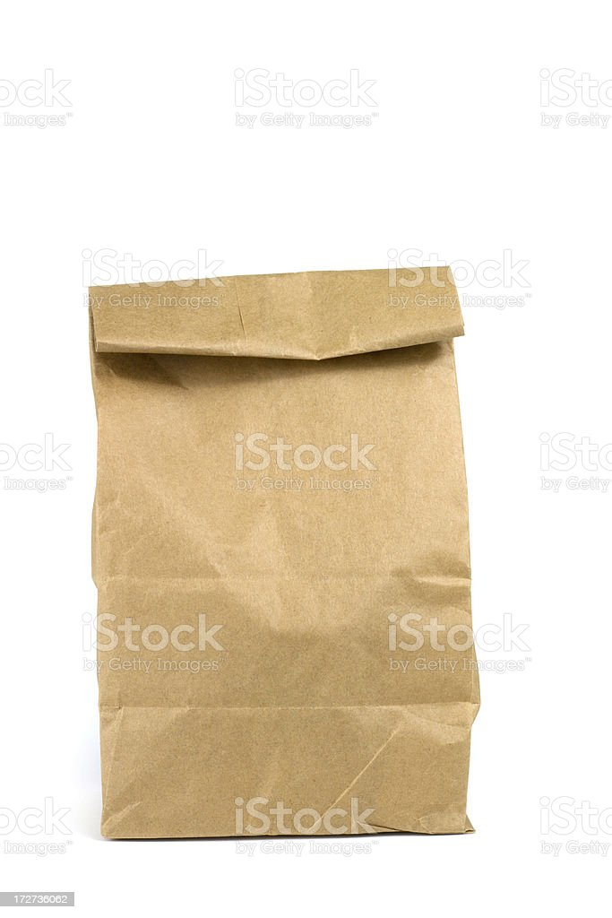 Brown Bag Lunch Isolated On White stock photo