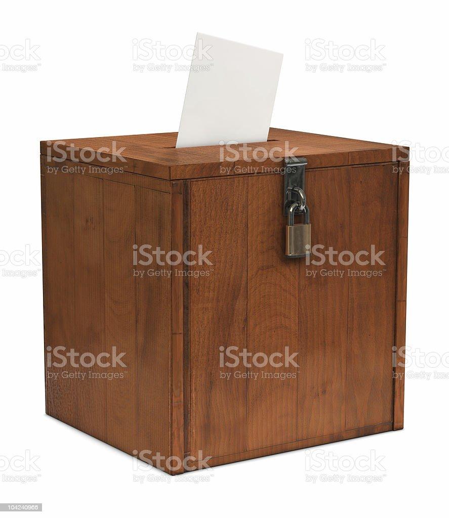 Brown ballot box on a white background stock photo