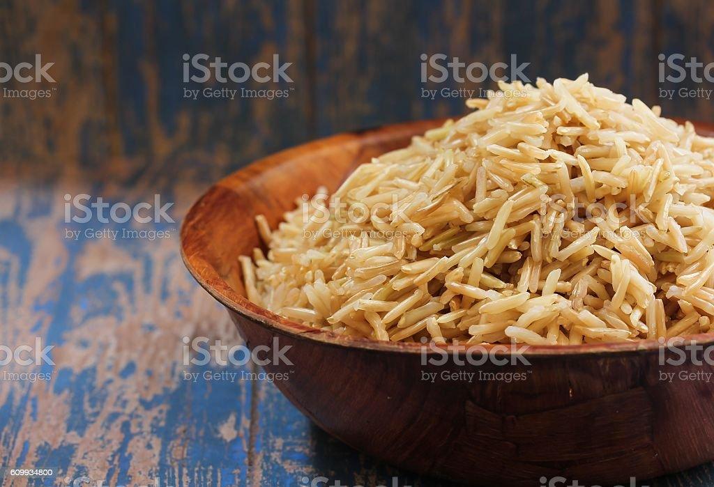 Brown Basmati Rice , selective focus stock photo