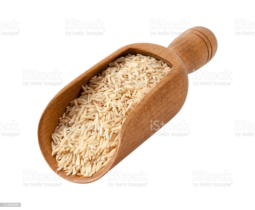 Brown Basmati Wild Rice in a Wooden Scoop stock photo