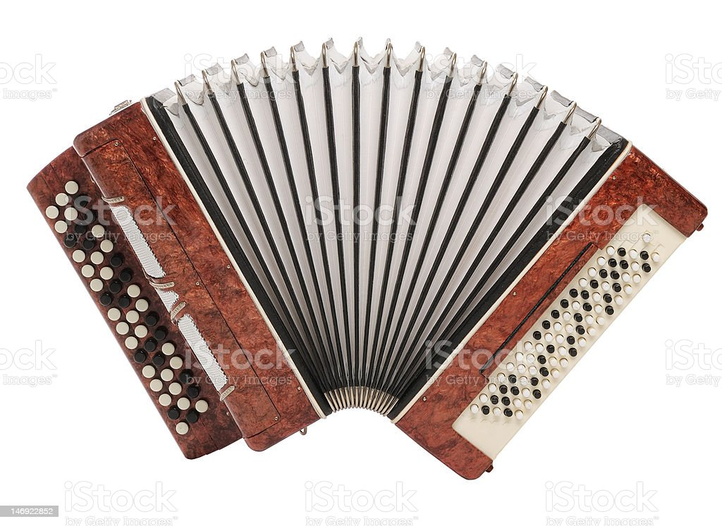 Brown bayan (accordion) isolated on white background stock photo