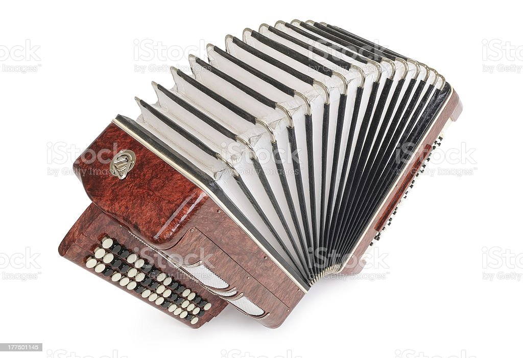 Brown bayan (accordion) on white background stock photo