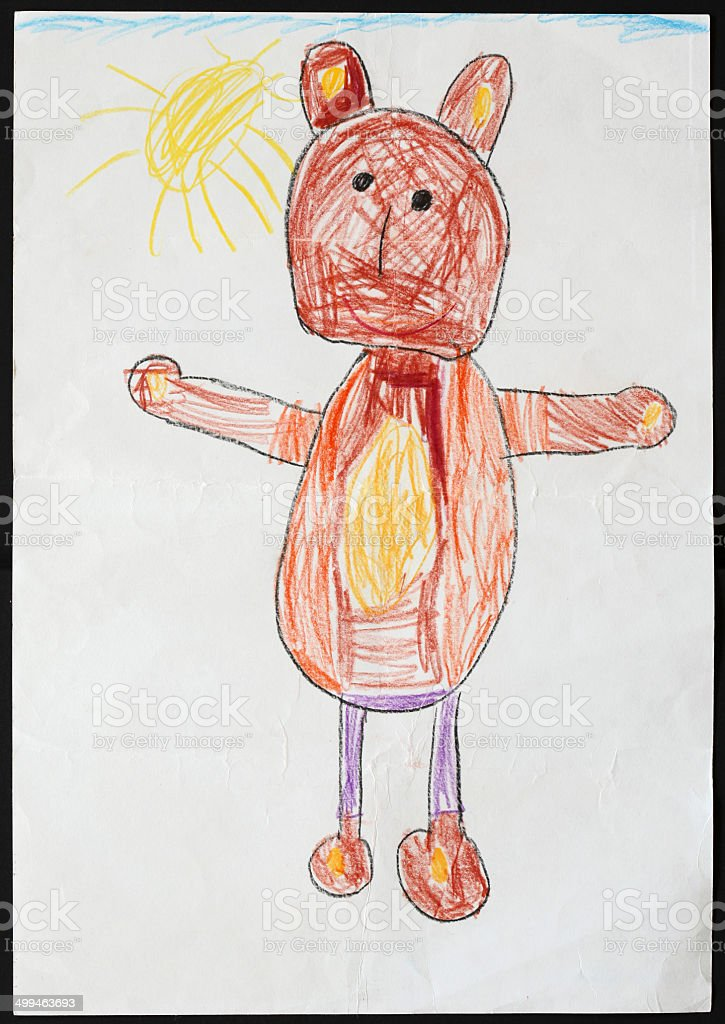 Brown Bear. Child's Drawing. stock photo