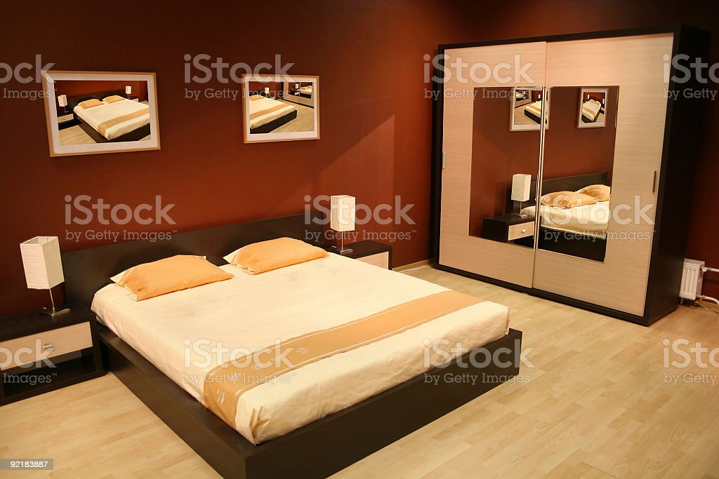brown bedroom stock photo