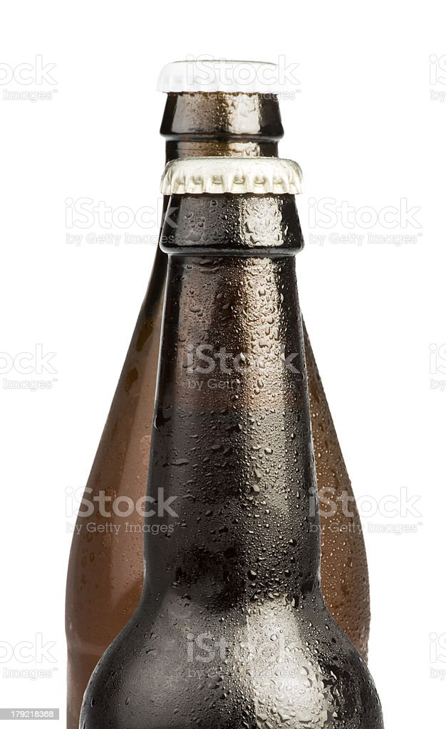 Brown Beer bottles isolated royalty-free stock photo