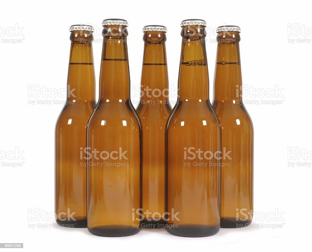 Brown beer bottles stock photo