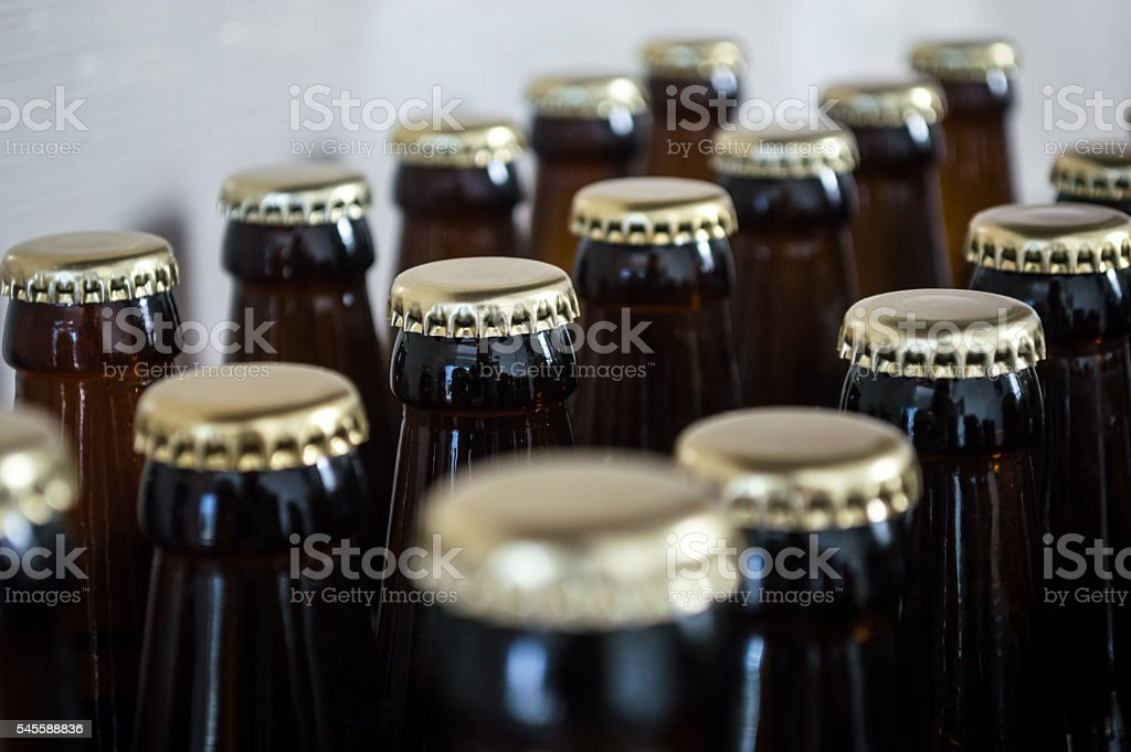 Brown Beer Bottles/Caps Lined Up High Front View royalty-free stock photo