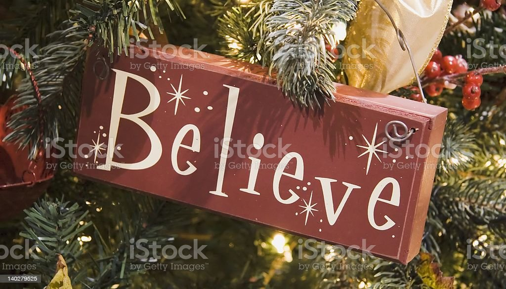 Brown Believe Sign Ornament royalty-free stock photo