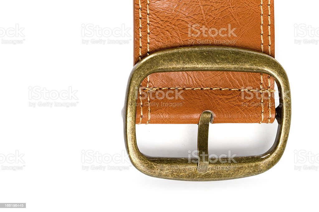 brown belt with bronze buckle royalty-free stock photo